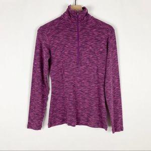 Columbia Purple 3/4 Zip Long Sleeve Turtleneck Top